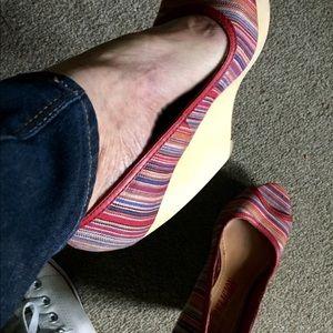 True Religion Striped Peep Toe Wedges
